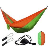 휴대용 캠핑 나일론 Foldable 낙하산 해먹 생존 레저 잠자는 여행 교수형 휴대용 휴대용 밧줄 카라비너와 침대 해먹 fwe10065