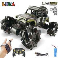 LBLA C1 Legierung RC Auto 2,4 GHz 4CH 1:16 Stunt Drift Crawler Dual Fernbedienung Auto 360 Grad Flip Fahrzeug Spielzeug für Kinder 210729