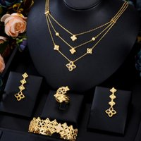 Earrings & Necklace Missvikki Original Luxury 3 Layers Open Bangle Ring Jewelry Sets For Women Wedding Party Show High Quality
