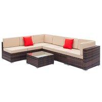 와코 모듈 식 야외 단면 안뜰 세트, 7 피스 PE 고리 버들 등나무 정원 가구 대화, 6 개의 의자, 1 커피 테이블, 2 베개, 브라운 그라디언트