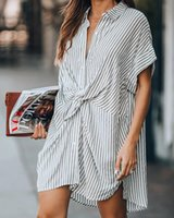 Casual Dresses Summer Slim-fit Tie Striped Dress Women's Clothing