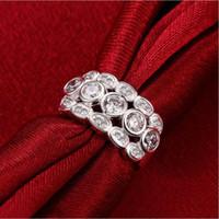 Womer's Multilayer White Edelstein Sterling Silber Überzogene Ringe Größe 7 DMSR723, Beliebte 925 Silber Platte Fingerring Schmuck Ringe