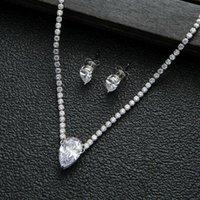 Earrings & Necklace Luxury Zircon Tennis Chain Water Drop Set For Women,High Quality Party Dubai Wedding Jewelry N0543