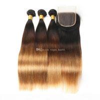 레이스 정면 실크 스트레이트 1B 4 27 컬러 꿀 금발 폐색 머리카락이있는 3 개의 톤 페루 버진 머리카락 13 * 4 정면 폐쇄로