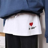 Skirts Korean Hem Decorative Skirt Fashion Casual Women Printed Span Ladies High Waist Keep Warm Long Pants Female