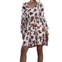 أزياء المرأة البولكا نقطة زهرة اللباس طويل نفخة الأكمام الخامس الرقبة الدانتيل متابعة اللباس عارضة مرونة الخصر الخريف الربيع الملابس