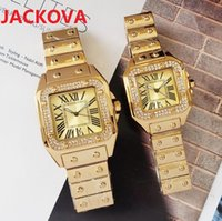 Famous Full Steel classic designer watch Luxury Fashion Crystal Diamonds Men Women Watches Square Roman dial Quartz Clock Chronograph Iced Out stopwatch