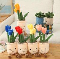 Favorito de la fiesta Tulipán realista Planta de carne plush blando estantería decorativa muñeca creativa flores en maceta lanzar almohada niños regalo dwa9428