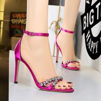 Sandals Bigtree Shoes Women's Red 2021 Summer Ladies Gladiator High Heel Rhinestone Wedding
