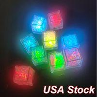 LED Cubo de hielo Luces de noche Multi Color Cambiando Flash lento Novedad Líquido Sensor Líquido Sumergible Para Fiesta Bares Bodas Bebidas Decoración