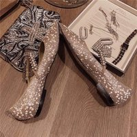 2020 Fashion Classic Woman Flat Shoes Calf Leather Goat Skin Crystal Metal Jimmy Flat Shallow Mouth Crystal Wedding Shoes 34 -40