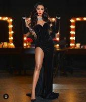 빈티지 블랙 벨벳 인어 가브닝 드레스 섹시한 측면 분할 연인 코르셋 댄스 파티 드레스 공식 행사 가운 장갑 2021 Vestido de Novia
