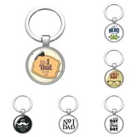 Love Dad Father's Day Men's Glass Cabochon Keychain Bag Car Key Chain Ring Holder Charms Silver Color Keychains for Father Gifts