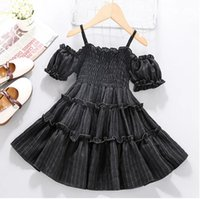 Dresses Pretty Princess Party Clothes Kids Baby Girls Summer Off Shoulder Solid Ruched Pleat Knee-length Dress Toddler