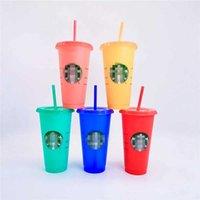 10 PACK 24 POM 710 ml Plastikowe Starbucks Tal Magic Kolor Zmiana Kubek ze słomy Confetti Wielokrotnego użytku Przezroczyste Picie Płaskie Botoom