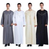 Ramadan Musulmani Abbigliamento da uomo Jubba Thobe Long Dress Pakistan Dubai Arab Djellaba Kaftan Abaya Islamic Prayer Robe Worship Service