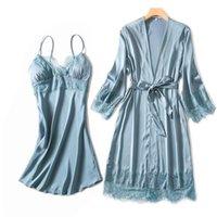 Женские пиджаки шелковистые женские шелковые халат платье лето сексуальное секси кружево отделка платье элегантная женщина пижамы повседневный халат