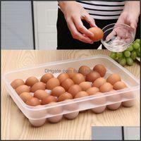 Armazenamento Housekee Organização Home Gardenstorage garrafas frascos 34-grade Bandeja de caixa de ovo com tampa Cozinha Refrigerador caixas de geladeira