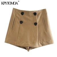 Kpytomoa donna chic moda con doppio bottoni pantaloncini gonne vintage vita alta vita latempo con cerniera femmina skurt mujer 210304