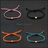 Jewelrygold Sier Love Heart Charm Bracelet Women Men Lovers Wish Good Lucky Red String Braided Adjustable Couple Bracelets Jewelry 2247 Q2 D