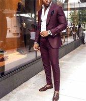 Burgundy Men Suits Groom Wear Shawl Lapel One Button Prom Slim Fit Blazer Jacket 2 Piece Coat+Pant