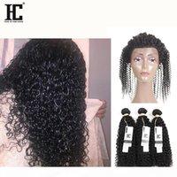 HC Malasia Kinky Rizado Cierre frontal de encaje 360 con paquetes 3 paquetes de extensión de cabello con 360 encaje Frontal Full Lace Frontal Human