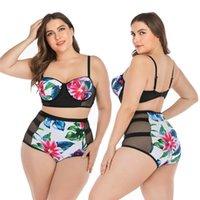 Naidey Plus Size Bikini Set Leaf Stampa Costume da bagno Costume da bagno Donne Grande Coppa Swimwear a vita alta 2021 Push up Bikini Bikinis Fat femminile Swim Wear 4XL
