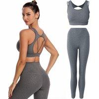 Set de equipos de yoga Gimnasio para mujer Ropa de ropa de cintura alta de la cintura 2 unids Traje de deportes Leopardo Elástico Fitness Ropa Sexy Sportswear 2021
