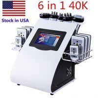 Alta calidad NUEVO 6 EN 140K Cavitación ultrasónica de liposucción 8 Pad Láser Vacuum RF Cuidado de la piel Salón Spa Spa para adelgazar Equipo de belleza FR