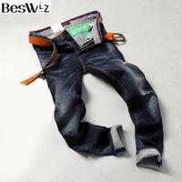 Beswlz erkekler denim kot kot orta ağırlık düz ince erkek çizik kot pantolon rahat iş tarzı erkekler mavi ripped 9501