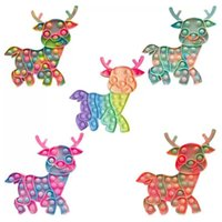 Christmas Fidget Toys Reindeer Silicone Elk Push Bubble Sensory Reliever Stress for Adult Children Autism Antistress Toy Gifts