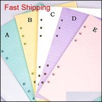 5 ألوان A6 فضفاض ورقة ورقة دفتر الملء دوامة الموثق مؤشر الحشو صفحات الداخلية الصفحات اليومية مخطط ورقة القرطاسية ahed5 kaguu