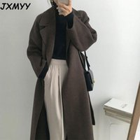 Jxmyy français paresseux style chaud femme frais hiver 2021 ceinture classique rétro lâche femmes manteaux de laine chic décontracté manteau long