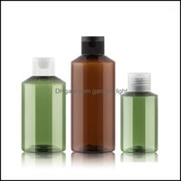 Packing Office School Business & Industrialpacking Bottles 50Pcs 50Ml 100Ml Empty Brown Green Refillable Plastic Cosmetic Bottle With White