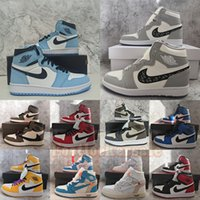 1s Zapatillas de baloncesto para hombre 1 UNC Twist Dark Mocha University Azul Negro Hyper Royal Shadow Smoke Grey Zapatillas deportivas Jumpman para mujer Tamaño 13 con caja