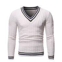 남성 스웨터 패션 남자 캐주얼 V 넥 풀오버 남자 가을 따뜻한 슬림 피트 긴 소매 셔츠 남성 스웨터 니트 양모