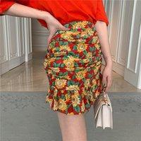 Женская одежда наборы женщин две части наряда лето новая половина прерии шикарный уплотнительную шею регулярное печать короткие узор драпированные оборки