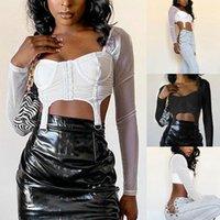 Women's T-Shirt Fashion All-Match Sexy Navel Gauze Stitching Slim Short Top