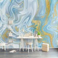 Benutzerdefinierte jegliche größe wandbilder tapete 3d geprägte blaue textur marmor wand papier mode luxus linie wohnzimmer tv sofa wohnkultur
