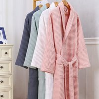 Women's Sleepwear Couple Waffle Kimono Robe Women And Men Nightwear Spring Autumn Intimate Lingerie Casual Bathrobe Gown