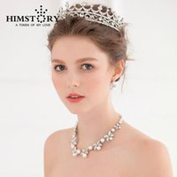 Earrings & Necklace Flower Pearl Vintage Hair Crown Earring Set ,Princess Jewelry 3pcs For Wedding Party