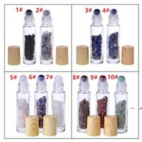 10 ml clear glass roll on the perfume bottle with natural crystal quartz stone crystal ball wood grain cover essential oil bottle GWE9362