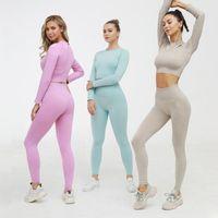 Women's Leggings Seamless Women Yoga Set Workout Sportswear Gym Clothing Fitness Long Sleeve Crop Top High Waist Sports Suits