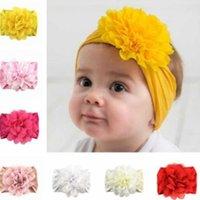Tiktok kinderen pasgeboren gilrs zachte nylon hoofdband haarbanden met grote bloem chiffon bloemen baby haar wrap brede haarbanden ontwerpers hoofdband prinses stijl LY6802