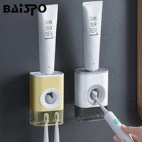 Toothbrush Toothers Baispo Punch-Livre Automático Dentífrico Esprema Dispensador De Parede Distribuidor Titular Casa de Banho Casa de Banho