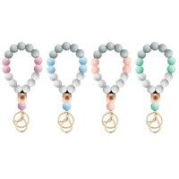 silica gel Keyring ornaments Wood Bead butterfly Key buckle Hand string ring Bracelet Keychains jewellery 8 96jm Y2