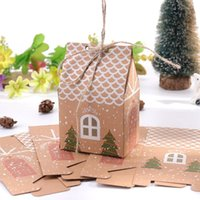 Gift Wrap 10PCS Kraft Paper House Shape With Ropes Candy Bags Cookie Packaging Boxes Christmas Tree Pendant Party Decor