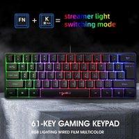 HXSJ V700 لوحة المفاتيح 61 مفاتيح الألعاب لوحة المفاتيح RGB مع مجموعات المفاتيح اختصار متعددة لحانة