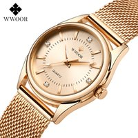 Wwoor Luxus Diamant Frau Watch Frauen Rose Gold Kleine Armband Armbanduhren Geschenke Für Frauen Quarzuhr Relogio Feminino 210310