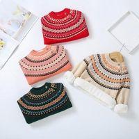 2021 Yeni Kış Bebek Erkek Artı Veet Kazak Kalın Sıcak Çocuk Çocuk Giysileri Yürüyor Kızlar Örgü Jumper Pull-over Sweatshirt N5IF